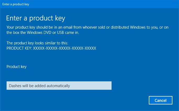Skip Enter a Product Key in Windows 10
