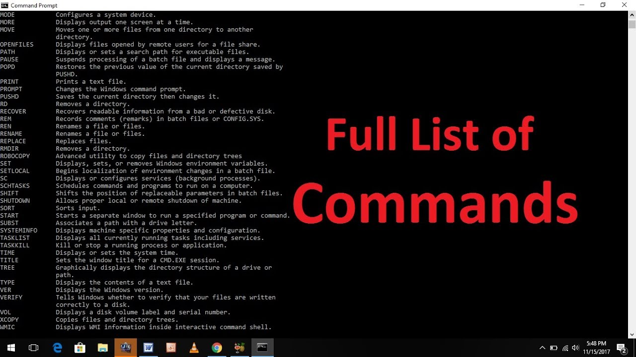 Complete list of CMD commands for Windows 10, 8, 7, Vista, and XP